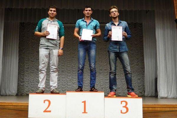 2 место - Михаил Горожанин, 1 место - Дмитрий Оспенников, 3 место - Глеб Апрышко
